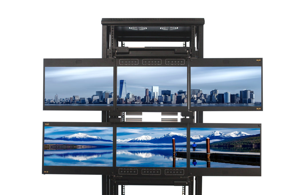 triple screen LCD drawer combination multi clavier ecran rackable