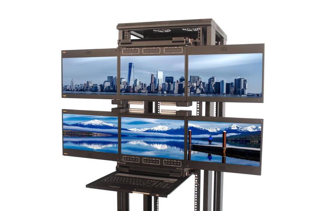 6 display aggregation ANNSO TIROIR CONSOLE RACKABLE CONSOLE DRAWER CLAVIER ECRAN RACKABLE MULTI ECRAN RACKABLE TIROIR CONSOLE RACKABLE TRIPLE CLAVIER ECRAN RACKABLE 6 écrans au total avec triple clavier écran rackable 19 pouces full HD équipé d'un clavier et triple écran basculant 2U. Les écrans ont une diagonale de 17.3 pouces CONSOLE RACKABLE ECRAN