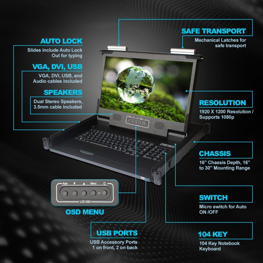 CLAVIER ECRAN RACKABLE ANNSO CONSOLE RACKABLE ECRAN LCD KVM SWITCH CONSOLE DRAWER CONSOLE KVM RACKABLE Console DKM équipée d'un écran 4K de 17,3 pouces de diagonale 400 cd/m². Résolution 3840×2160