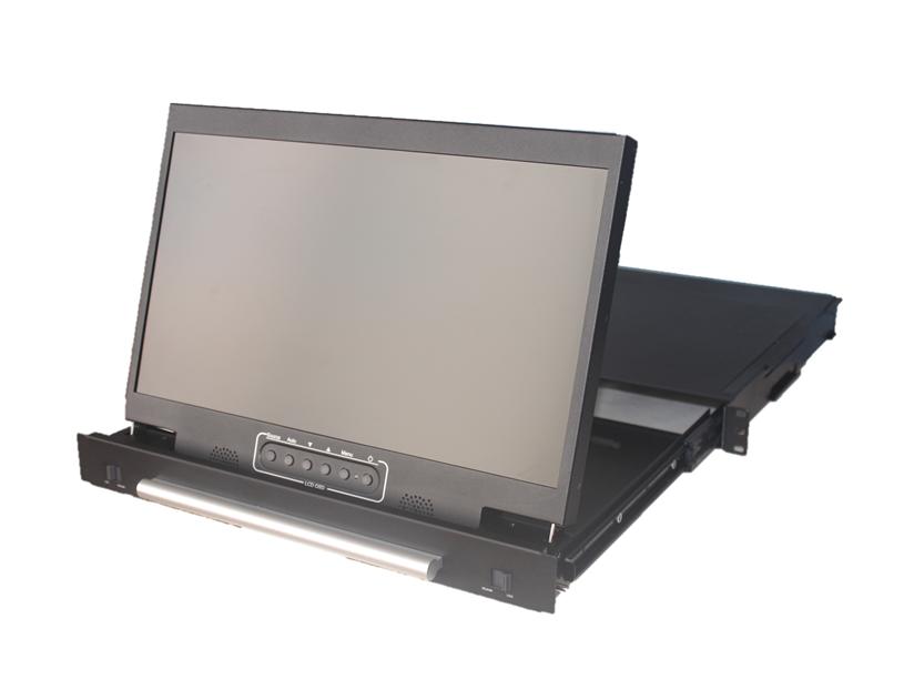 ECRAN RACKABLE RMD 17W ANNSO SAIS Tiroir 1U très compact équipé d'un écran 17 pouces FHD 1920×1080  avec interfaces DVI-D, VGA et audio. Construction métal très solide, OSD et commandes en face avant, HP intégrés.