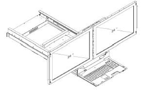 clavier ecran rackable double LCD double rail KVMD 24WD2 Offre deux écrans 24 pouces full HD 1080p symétriques avec clavier 104 touches console multi ecran console bi-ecran