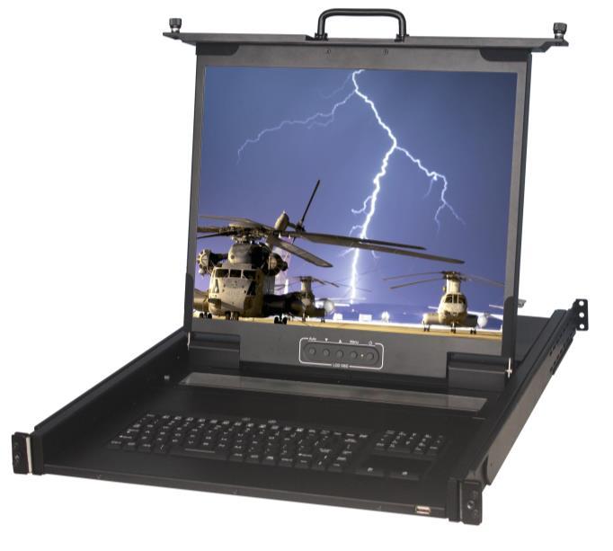 KVM 1701 WPD M8 military grade clavier ecran rackable